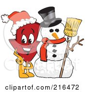 Royalty Free RF Clipart Illustration Of A Red Down Arrow Character Mascot By A Snowman by Toons4Biz