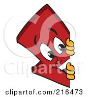 Royalty Free RF Clipart Illustration Of A Red Down Arrow Character Mascot Looking Around A Blank Sign by Toons4Biz