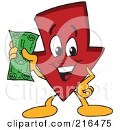 Royalty Free RF Clipart Illustration Of A Red Down Arrow Character Mascot Holding Cash by Toons4Biz