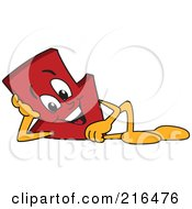 Royalty Free RF Clipart Illustration Of A Red Down Arrow Character Mascot Reclined by Toons4Biz