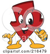 Royalty Free RF Clipart Illustration Of A Red Down Arrow Character Mascot Using A Magnifying Glass by Toons4Biz
