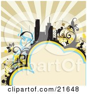 Clipart Illustration Of A Retro Background With City Buildings Silhouetted Against A Sunburst Surrounded By Floral Vines With Room For Text At The Bottom