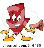 Royalty Free RF Clipart Illustration Of A Red Down Arrow Character Mascot Using A Megaphone by Toons4Biz