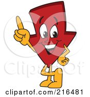 Royalty Free RF Clipart Illustration Of A Red Down Arrow Character Mascot Pointing Upwards by Toons4Biz