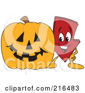 Royalty Free RF Clipart Illustration Of A Red Down Arrow Character Mascot By A Halloween Pumpkin