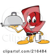Royalty Free RF Clipart Illustration Of A Red Down Arrow Character Mascot Serving A Platter by Toons4Biz