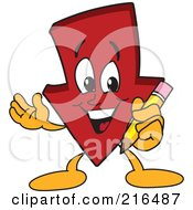 Royalty Free RF Clipart Illustration Of A Red Down Arrow Character Mascot Holding A Pencil by Toons4Biz