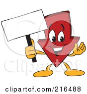 Royalty Free RF Clipart Illustration Of A Red Down Arrow Character Mascot Holding A Small Blank Sign by Toons4Biz