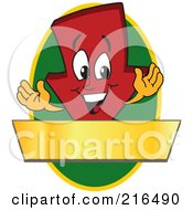 Royalty Free RF Clipart Illustration Of A Red Down Arrow Character Logo Mascot On A Green Oval With A Gold Banner by Toons4Biz