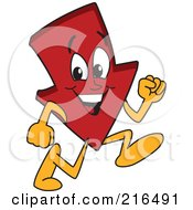 Royalty Free RF Clipart Illustration Of A Red Down Arrow Character Mascot Running by Toons4Biz