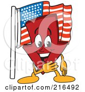 Royalty Free RF Clipart Illustration Of A Red Down Arrow Character Mascot By An American Flag by Toons4Biz
