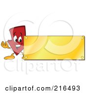 Royalty Free RF Clipart Illustration Of A Red Down Arrow Character Logo Mascot With A Gold Plaque Sign by Toons4Biz