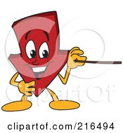 Royalty Free RF Clipart Illustration Of A Red Down Arrow Character Mascot Using A Pointer Stick by Toons4Biz