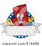 Royalty Free RF Clipart Illustration Of A Red Down Arrow Character Logo Mascot On A Patriotic Circle by Toons4Biz