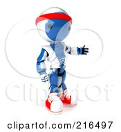 Royalty Free RF Clipart Illustration Of A 3d Fitness Blue And White Ao Maru Robot Wearing Sneakers And A Head Band On A White Background by Leo Blanchette