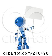 Royalty Free RF Clipart Illustration Of A 3d Blue And White Ao Maru Robot Holding Up A Blank Sign On A Pole On A White Background by Leo Blanchette