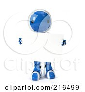 Royalty Free RF Clipart Illustration Of A 3d Blue And White Ao Maru Robot Carrying A Blank Sign On A White Background by Leo Blanchette