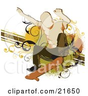 Clipart Picture Illustration Of A Man Holding His Arms Up And Bending His Keens While Skateboarding Over A Vine Scroll And Line Grunge Background