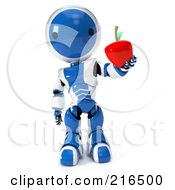 3d Blue And White Ao-Maru Robot Holding Out A Red Apple On A White Background