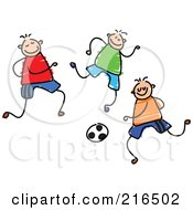 Royalty Free RF Clipart Illustration Of A Childs Sketch Of A Group Of Boys Playing Soccer