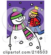 Royalty Free RF Clipart Illustration Of A Childs Sketch Of A Boy Playing By A Snowman by Prawny