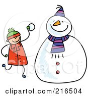 Royalty Free RF Clipart Illustration Of A Childs Sketch Of A Boy Making A Snowman by Prawny