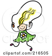 Royalty Free RF Clipart Illustration Of A Childs Sketch Of A Girl Skipping Rope