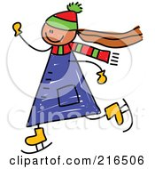 Royalty Free RF Clipart Illustration Of A Childs Sketch Of A Girl Ice Skating by Prawny
