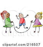 Royalty Free RF Clipart Illustration Of A Childs Sketch Of A Boy And Girls Playing Jump Rope