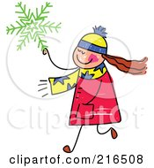 Royalty Free RF Clipart Illustration Of A Childs Sketch Of A Girl Carrying A Green Snowflake