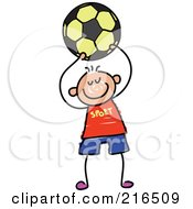 Royalty Free RF Clipart Illustration Of A Childs Sketch Of A Boy Playing Soccer 5 by Prawny