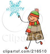 Royalty Free RF Clipart Illustration Of A Childs Sketch Of A Boy Carrying A Snowflake by Prawny