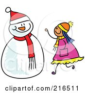 Royalty Free RF Clipart Illustration Of A Childs Sketch Of A Girl Making A Snowman