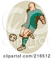 Royalty Free RF Clipart Illustration Of A Retro Soccer Player Over A Beige Oval
