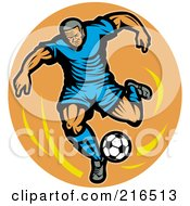 Royalty Free RF Clipart Illustration Of A Retro Soccer Player Over An Orange Oval