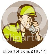 Royalty Free RF Clipart Illustration Of A Retro Soldier Using A Radio by patrimonio