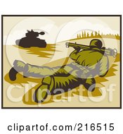 Royalty Free RF Clipart Illustration Of A Soldier On The Ground Pointing A Bazooka At A Tank by patrimonio