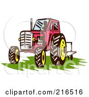 Royalty Free RF Clipart Illustration Of A Retro Red Tractor On Grass