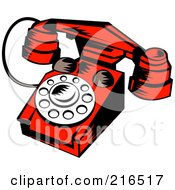 Royalty Free RF Clipart Illustration Of A Red Retro Telephone by patrimonio