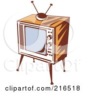 Royalty Free RF Clipart Illustration Of A Retro Wooden Box Television And Stand by patrimonio