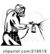 Retro Black And White Painter Using A Spray Tool