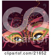 Clipart Picture Illustration Of A Womans Blue Eyes Wearing An Elegant Theater Mask And Makeup With Vines by OnFocusMedia