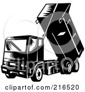Royalty Free RF Clipart Illustration Of A Retro Black And White Dump Truck Dumping