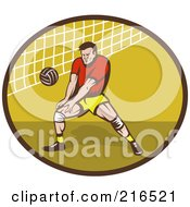 Royalty Free RF Clipart Illustration Of A Retro Volleyball Player Preparing To Hit A Ball