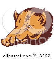 Royalty Free RF Clipart Illustration Of A Wild Pig Face