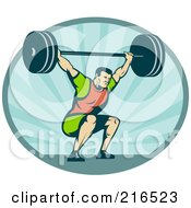 Royalty Free RF Clipart Illustration Of A Retro Bodybuilder Squatting And Lifting A Barbell Logo
