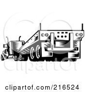 Royalty Free RF Clipart Illustration Of A Rear View Of A Retro Black And White Big Rig