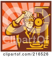 Royalty Free RF Clipart Illustration Of A Retro Tradeworker Using A Press Drill