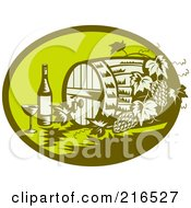 Royalty Free RF Clipart Illustration Of A Retro Green Wine Barrel Bottle And Glass Logo