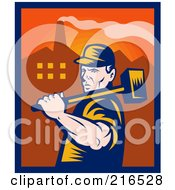 Royalty Free RF Clipart Illustration Of A Retro Factory Worker Carrying A Sledgehammer by patrimonio